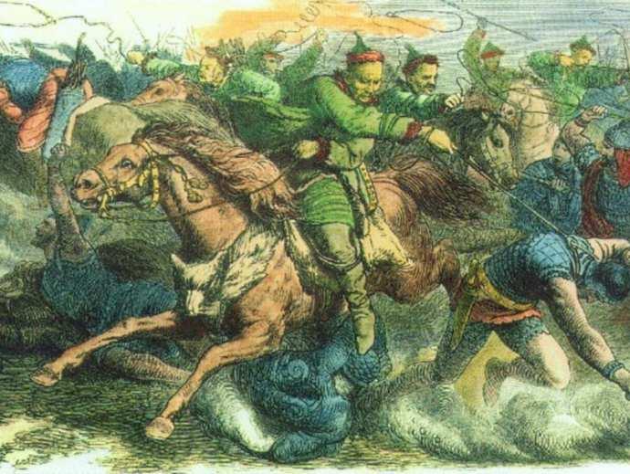 Гунны сражаются с аланами (гравюра с картины Петера Гайгера)