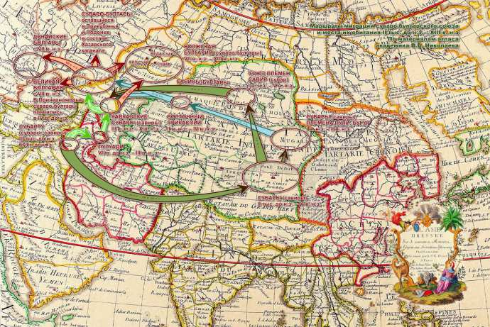Маршруты миграции суваро-булгарского союза и места их обитания II тыс. до н.э.—XIII в. н.э. По материалам атласа академика В. В. Николаева
