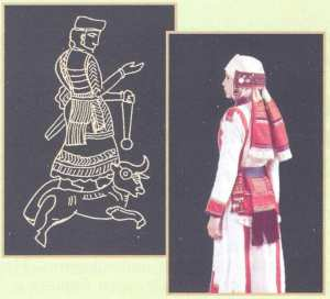 Древний женский костюм суваро-хурритской богини Шавушка (Северная Месопотамия) и чувашский женский костюм, XIX в.