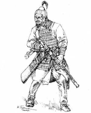 Рис. 7. Болгарский воин. VII в.  Реконструкция М. В. Горелика.