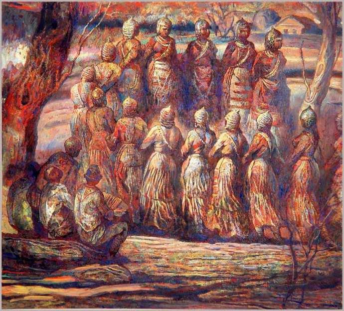 Народный художник ЧР В. И. Агеев. Суварский хоровод. 1972 г. Б., акв., г., 60х50.