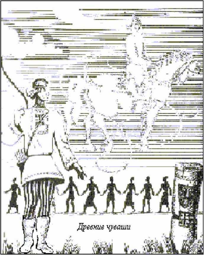 В месяц «юпа уйӑх» (месяц столба) древние чуваши сооружали постоянный антропоморфный памятник из дерева или камня (юпа), который и изображен на переднем плане картины «Древние чуваши».
