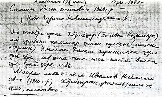 Рис. 17. Архивные записки А.О. Смолина. 14 декабря 1989 года.