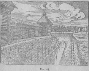 Реконструкция укрепления города Сувара, по материалу раскопок Н. О. Фреймана, стр. 63.