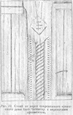 Рис. 13. Столб от ворот современного чувашского дома близ Чебоксар с верёвочным орнаментом.