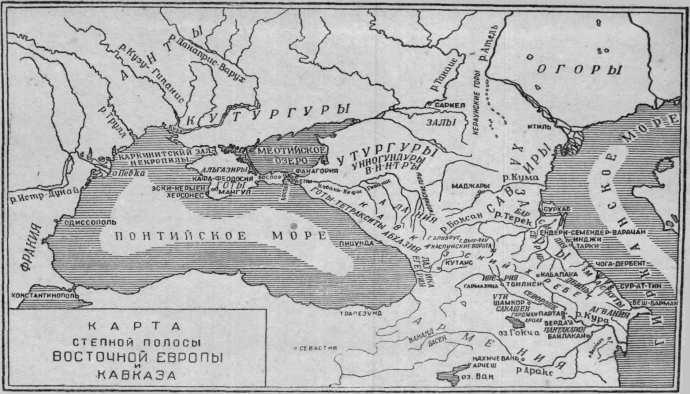 Карта степной полосы Восточной Европы и Кавказа