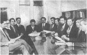 На совещании у директора института С. Р. Малютина. 1991 г.